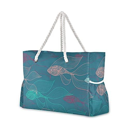 Tragetasche Beta Fisch Strandtasche Pool Tasche Tote Schultertasche für Gym Strand Reisen Schwimmen Wandern Picknick Außentaschen