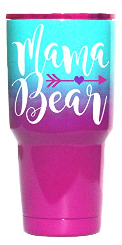 Large Mama Bear Travel Tumbler | Temperature-Regulated | Stainless Steel Insulated Metal Cup | Pink Purple Teal | Purple Lid | Women, Mom Life, Birthday, Mother