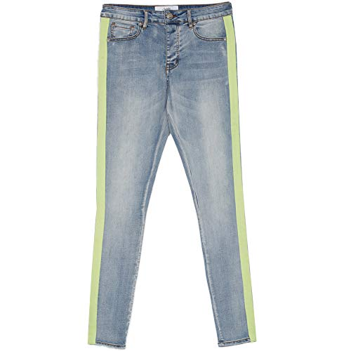 Sixth June Jeans Neon Blau Grün Gr. 36 DE/XL, blau