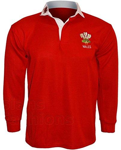 T-shirt de rugby à manches longues Pays de Galles avec broderie sur la poitrine - Rouge - XXXL