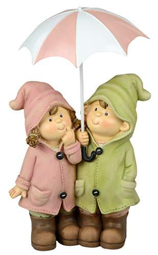 dekojohnson decoratieve figuur kinderpaar met metalen paraplu zomerdecoratie zomerdecoratie zomerkinderen voor binnen en buiten 17x30cm groot