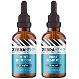ZEBRA HEMP Mint Oil – USA Made - Pure Organic Oil Drops in Tincture for Discomfort & Stress Relief, Sleep and Mood Support – 2 Pack