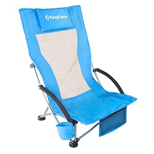 KingCamp Campingstuhl Strandstuhl niedrig und faltbar mit Getränkehalter und hoher Netzrückenlehne, Blau