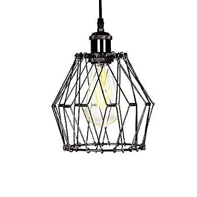 Xingoo Industrial Pendant Light Fixtures, Black Light Fixture, Farmhouse Chandelier, Cage Hanging Lamp Shade, Pendant Lighting for Kitchen Island Dining Room Living Room Bedroom Entryway Foyer Hallway
