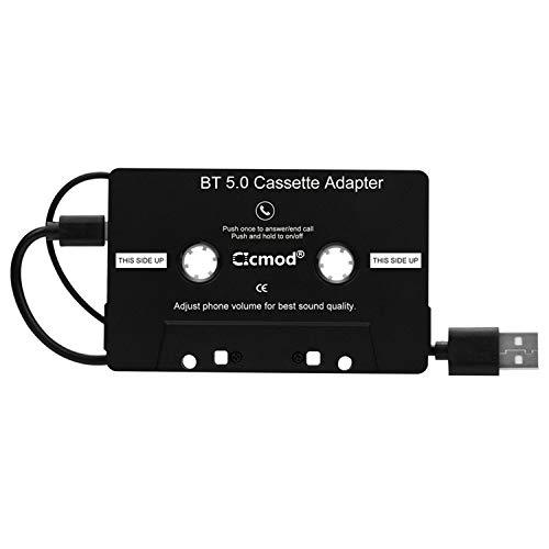 CICMOD Kassetten Adapter für Autoradio Car Tape AUX Adapter KFZ Kassenadapter mit eingebautem Mikrofon Freisprecheinrichtung BT 5.0 Schwarz
