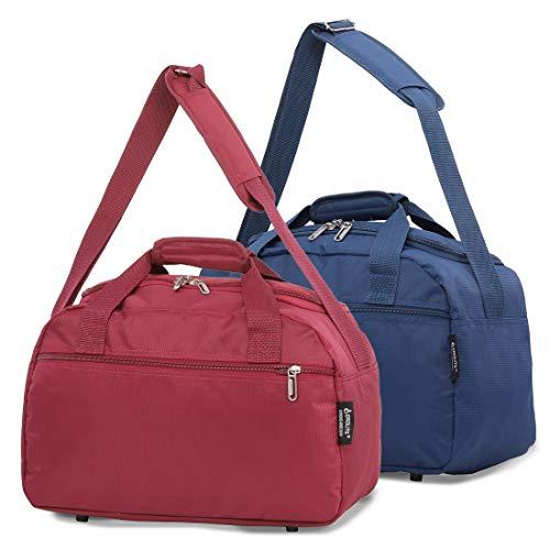 Aerolite New 2020 Ryanair 40x20x25 Maximum Size Holdall Cabin Luggage Flight Bag (Navy + Wine)