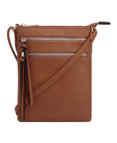 DELUXITY Essential Casual Functional Multi Pocket Double Zipper Crossbody Purse Bag for Women (Tan)