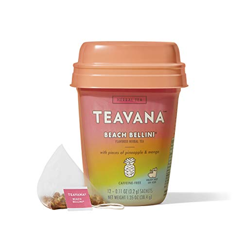 Teavana Beach Bellini, Herbal Tea With Pieces of Pineapple and Mango, 48 Count (4 packs of 12 sachets)