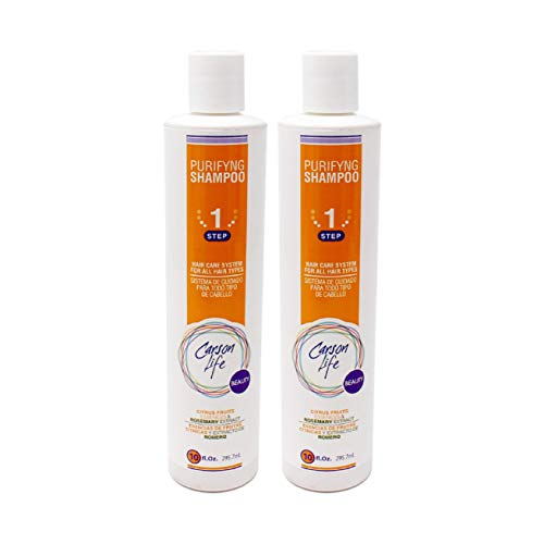 CARSON LIFE Purifying Shampoo 2 Pack for All Hair Types - 20 Oz - Made with Fruits and Herbs Extracts - Energize and Stimulate Hair - Helps Prevent Hair Loss and Dandruff - Made in The USA