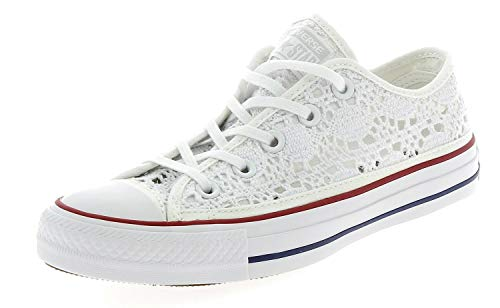 549314C CONVERSE Zapatos Blancos de Encaje Blanco Toda Estrella Ganchillo 36