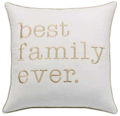 Rudransha Best Family Ever 18x18 Square Embroidered Decorative Accent Throw Pillow Cover - Navy Blue