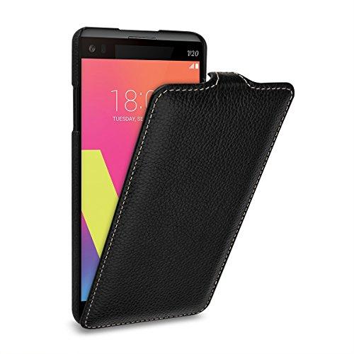 StilGut UltraSlim Hülle Hülle Leder-Tasche für LG V20. Dünnes Flip-Hülle vertikal klappbar aus Echtleder für das Original LG V20, Schwarz