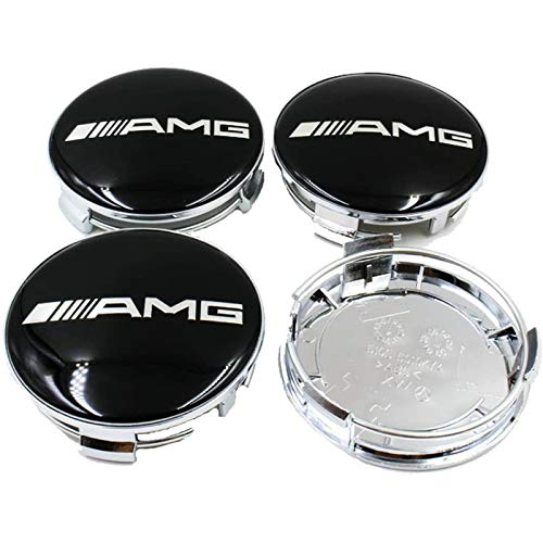 LODYPERO 4PCS Set 75mm AMG Logo Emblem Badge Wheel Hub Caps Center Covers para Mercedes Benz AMG (Negro)