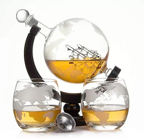 Casavetro Caraffa per whisky o vino da 900 ml in vetro soffiato a bocca GLOBUS e 2 bicchieri da 350 ml ciascuno, la caraffa decanter è da 0,9 litri