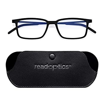Reading Glasses 1.5 Blue Light Glasses for Gaming Computers Digital Screen Providing UV Protection Black Super Thin Flat Folding Frames Read Optics