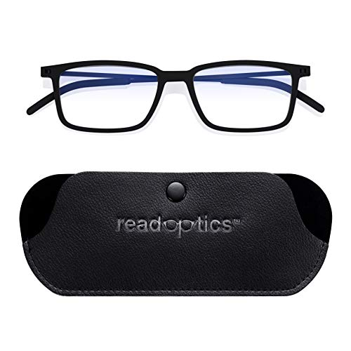 Reading Glasses 1.5 - Men/Women Black: Read Optics Thin Anti Glare, Bluelight & UV Filter Eye Protection Ready Readers Spectacles for Computer Work Fold Flat in Slim Vegan Leather Pocket Travel Pouch