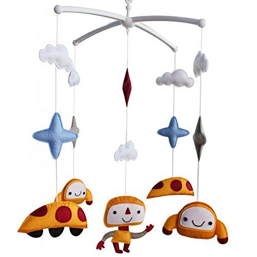 Lit bébé Musical Mobile Suspendu Chambre de bébé Chambre décor Nouveau-né literie lit bébé pour garçons, Mignon Orange Alien et OVNI