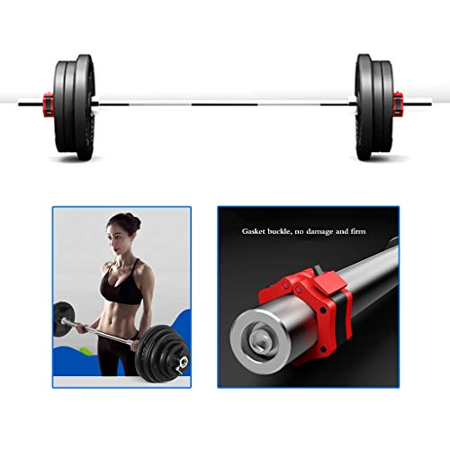 Barbell Rubber Coated Barbell Set Men's Commercial Olympic Pole Large Hole Carrying Bell Weightlifting Squat Gym Professional Barbell (Color : Black, Size : 120 * 27 * 27cm)