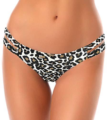 SHEKINI Donna Fashion Stile Bikini Perizoma Nuoto Tronchi Brasiliano Bikini Bottom Sexy Thong Pantaloni Costumi da Bagno Tanga da Donne Vita Bassa Bikini de Spiaggia (X-Large, Stampa Leopardo)