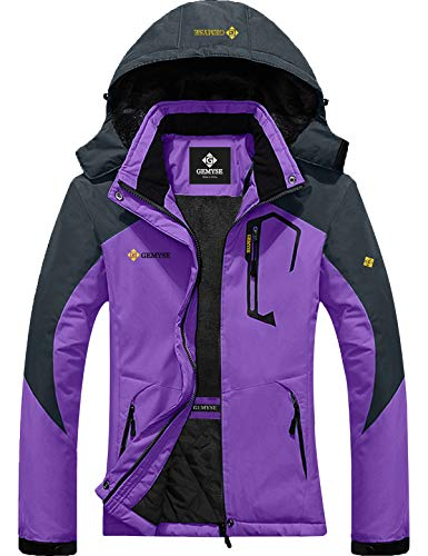 GEMYSE Women's Mountain Waterproof Ski Snow Jacket Winter Windproof Rain Jacket (Purple, M)