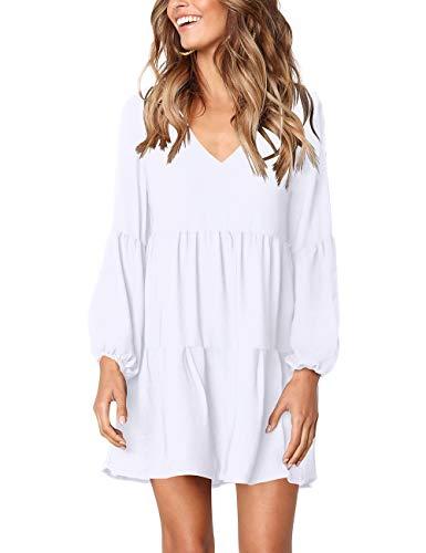 FOWSMON Women Dress Summer Casual V Neck Loose Fit Tunic Dresses White M