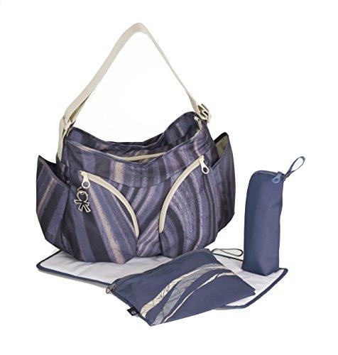 okiedog MONDO 37002 leichte geräumige Wickeltasche mit Schultergurt, viele Fächer, inkl. CLIPIX Kinderwagenhaken, Wickelunterlage, isolierter Flaschenhalter und Zubehörbeutel, Agate blau schwarz, ca. 49 x 32 x 19 cm