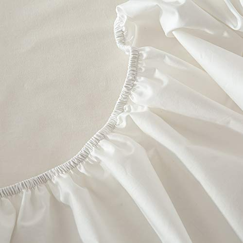 ボックスシーツ 綿100% マチ部分約30cm 柔らかな触感 吸湿 通気 全周包囲 着脱簡単 丸洗(ホワイト, クイーン・160x200x30cm)