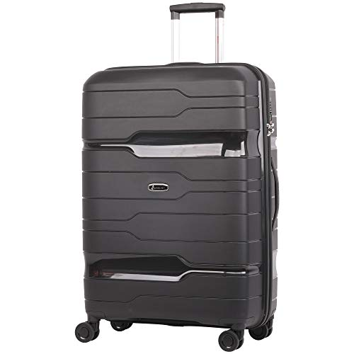 Aerolite Premium Large 28' Hard Shell 8 Wheel Hold Check in Luggage Suitcase with Built in 3 Digit TSA Combination Lock & Waterproof Interior Pocket - Ultra Durable & Smooth (Black)