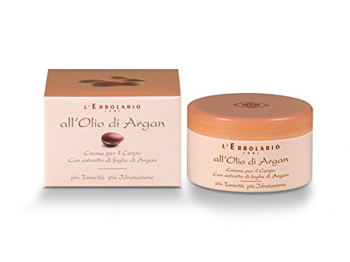 L'Erbolario Argan Oil Body Cream In Amber Creamy Scent To Tone & Moisturize Skin Made with Extract Of Argan Leaves (Cruelty Free/No Silicones or Parabens), 8.4 Oz