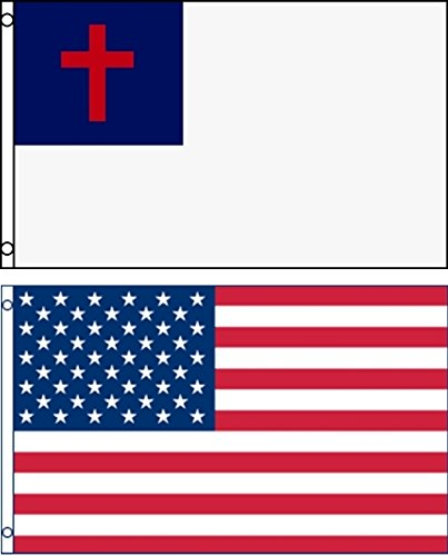 Mission Flags 3x5 ft. 2-Pack US American and Christian Polyester Flags