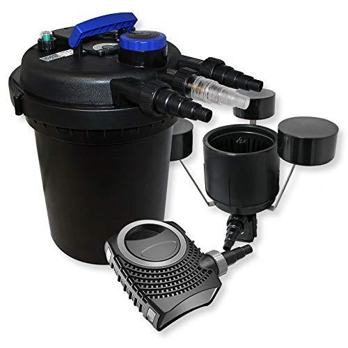 WilTec Kit de Filtration Bassin à Pression 10000l Stérilisateur UVC 11W 70W Pompe éco Ecumeur