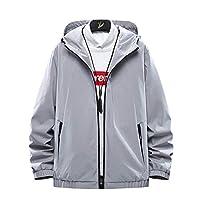 ジャケット ウインドブレーカーメンズ ジャケット アウトドア 軽量 防風 ブルゾン 大きいサイズ カジュアル 春 秋 冬 大人 メンズ グレー hui-2XL