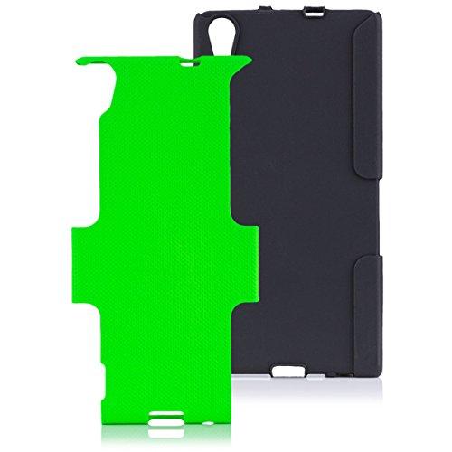 iCues Schutzhülle kompatibel mit Huawei Ascend P7 | 2 Part Air Hülle Grün | [Bildschirm Schutzfolie Inklusive] Outdoor Dickes Hardcase Stoßfest Militär Lifeproof Männer Jungs Hülle Cover Schutz