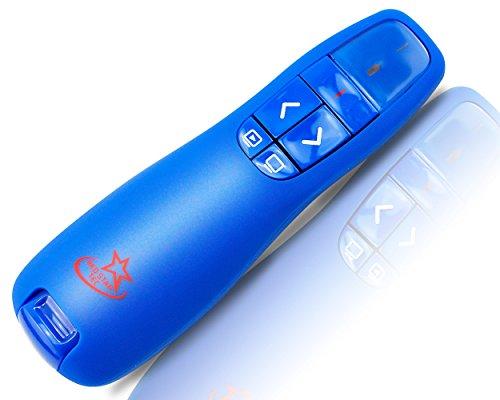 Mando inalámbrico de control remoto para presentaciones de Powerpoint y Keynote (PR-819) por Red Star Tec (Azul, 1 Pieza)