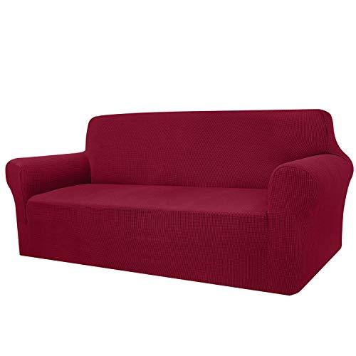 Fundas de sofá de 4 plazas, muy suaves, extra grandes, de Granbest para perros, mascotas, gatos, jacquard, elastano, antideslizante, con fondo elástico (4 plazas, color rojo vino)