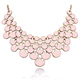 Jane Stone Necklace Magnetic Scaly Pink Jewelery Vintage Openwork Bib Statement Fall Wedding Necklace(Fn0968-Pink)