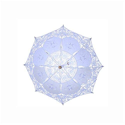 moresave Punta paraguas boda paraguas sombrilla, hecho a mano para novia boda dama de honor, tela, Weiß-s, pequeño