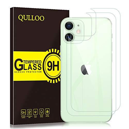 QULLOO Back Pellicola per iPhone 12 Mini 5.4', Pellicola Protettiva Posteriore Full Coverage Vetro Temperato Anti-graffio Copertina Completa Durezza per iPhone 12 Mini 5.4'-2 Piezas