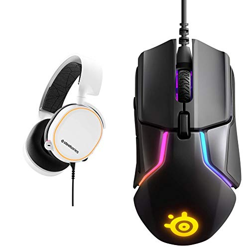 SteelSeries Arctis 5 - RGB Illuminated Gaming Headset - White & Rival 600 Gaming Mouse - 12,000 CPI TrueMove3Plus Dual Optical Sensor - 0.5 Lift-Off Distance - Weight System - RGB Lighting
