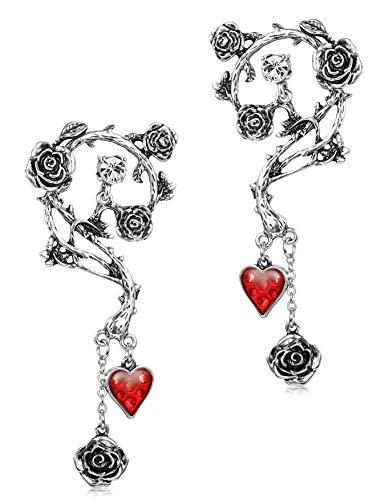 BESTEEL Pendientes de Acero inoxidable para las Mujeres Ni├▒as Halloween Pascua G├│tico Rosa Roja Pendientes de gota Joyer├Гa de moda Piercing oreja