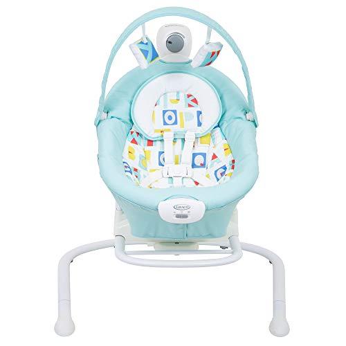 Graco Baby Duet Sway elektrische Babyschaukel ab Geburt bis 9 kg, anpassbare Geschwindigkeit, Vibration, Mobile mit Spielzeugen, auch als separate elektrische Babywippe verwendbar, Block Alphabet