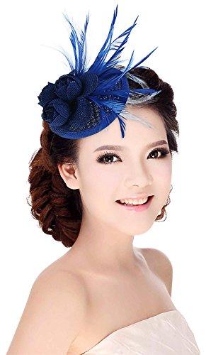 Y-BOA Chapeau Bibi Mariage Église Parti Soirée Costume Femme Chapeau Mini Pince Bleu