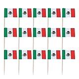 NUOBESTY 100 Piezas Mini Bandera de méxico Cupcake Toppers Palillos de Madera Toppers de Pastel selecciones de Frutas para Suministros de Fiesta Deportiva del país Mundial
