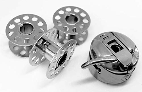 CB Spulenkapsel + 3 Metallspulen für Veritas Nähmaschinen 2500, 3400, Romy