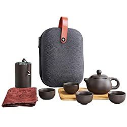 Queena Portable Yixing Zisha Tea Set Handmade Purple Clay Porcelain Teapot Teacups Traditional Chinese Style Kungfu Teapot with Travel Bag