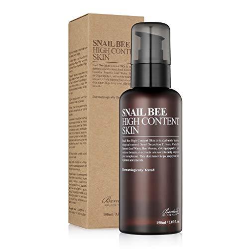 Benton Snail Bee High Content Skin (Toner) 150ml (5.07 fl. Oz.) - Filtrato di secrezione di lumaca e tonico idratante e lenitivo con acqua di tè verde per oleoso