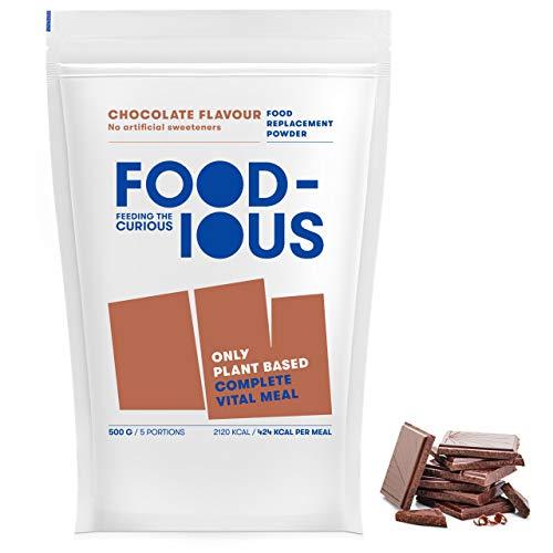FOODIOUS Schokolade Eiweißpulver-100% Vegan-Ideal als Mahlzeitersatz oder Diät Shake-Only 5g of Sugar per Meal-Frühstückspulver 1kg = 10 Mahlzeiten-Premium Zutaten-Low in Zucker Protein Pulver