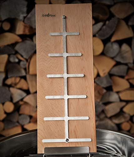 Grillfürst Flammlachsbrett aus Buchenholz, 190mm Schraub-Halterung mit 11mm Nut - für Grill und Feuerschale
