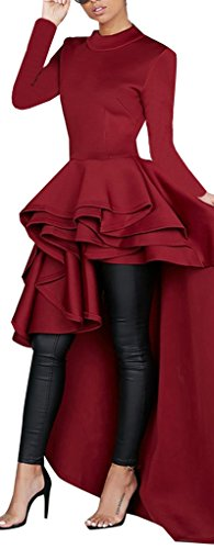 Kearia Women Ruffle High Low Asymmetrical Turtleneck Short Sleeves Bodycon Tops Blouse Shirt Dress Long Red XXXLarge