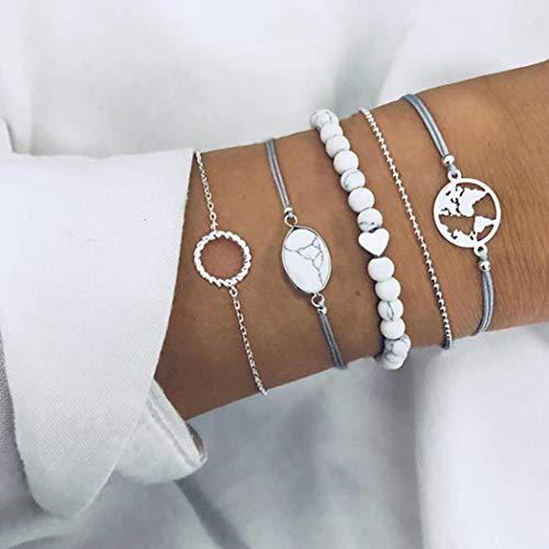 Edary Marmor Armband Set Silber Naturstein Armbänder Karte Muster Hand Zubehör Hohl Kreis Hand Kette für Frauen und Mädchen (5 Stück)